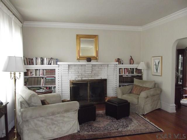Living Room-Fireplace/Bookcases